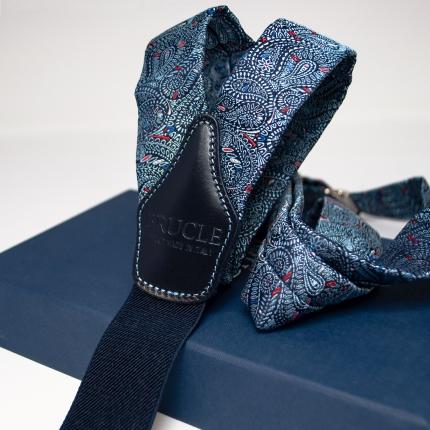 Brucle Bretelle In seta fantasia cachemire blu con cuciture a contrasto