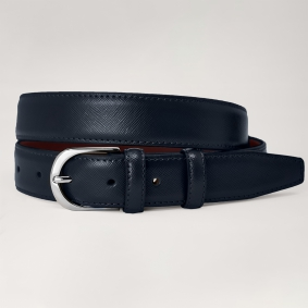 Genuine leather belt with saffiano print, blue navy