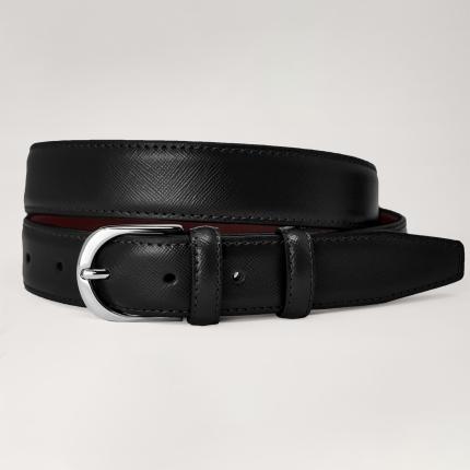 Cintura in pelle saffiano nera