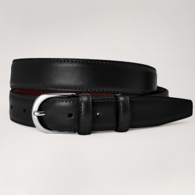 Genuine leather belt with saffiano print, black