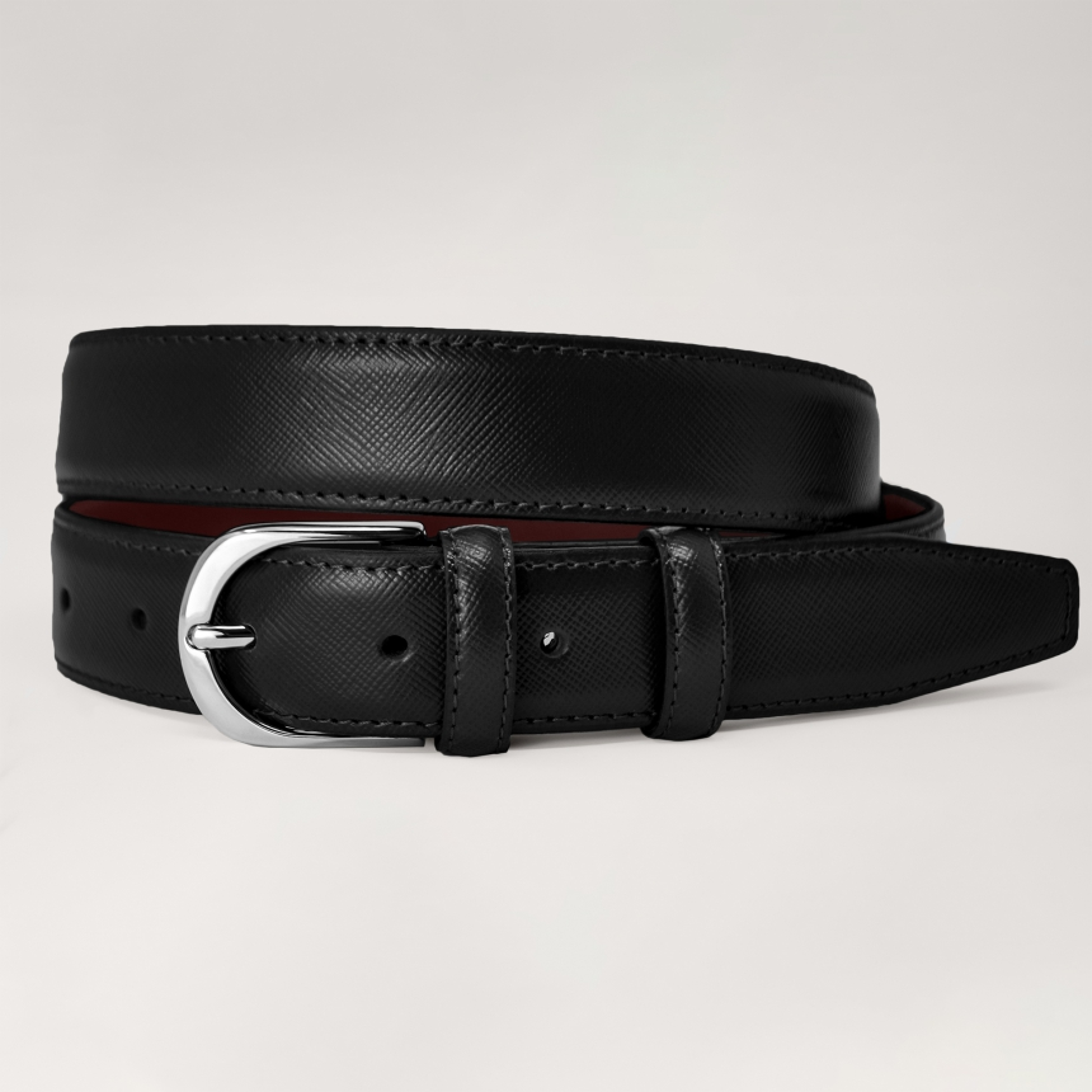 Brucle nickel free saffiano belt black