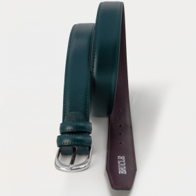 Genuine leather belt with saffiano print, green nickel free