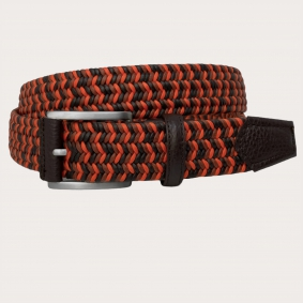 Brucle cintura intrecciata elastica arancio e marrone
