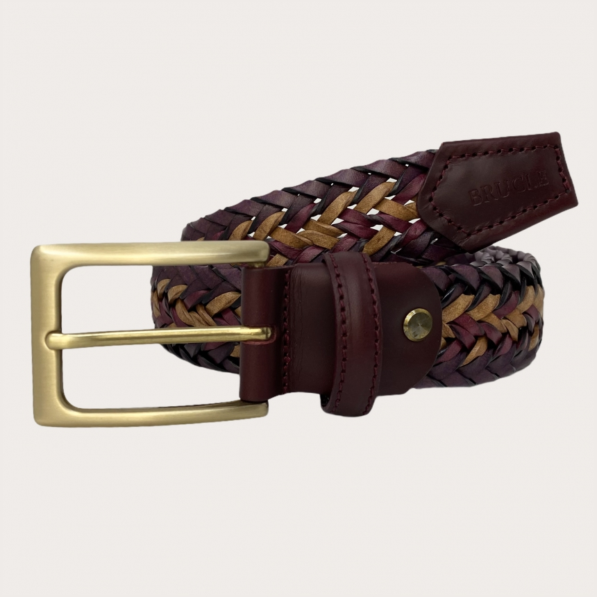 Brucle braided belt bordeaux ocra yellow nickel free