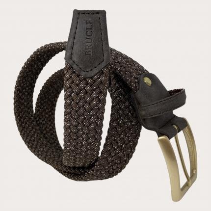 Brucle cintura elastica intecciata marrone con fibbia oro nichel free