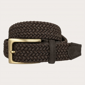 Braided elastic stretch belt, brown, buckle gold