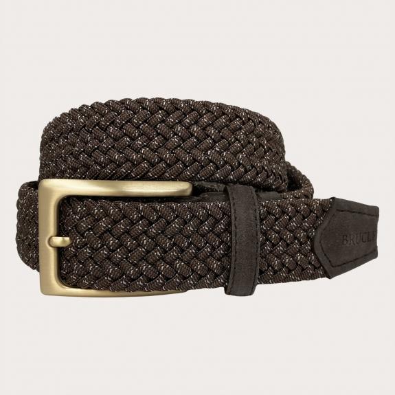 Brucle braided elastic belt brown buckle gold nickel free