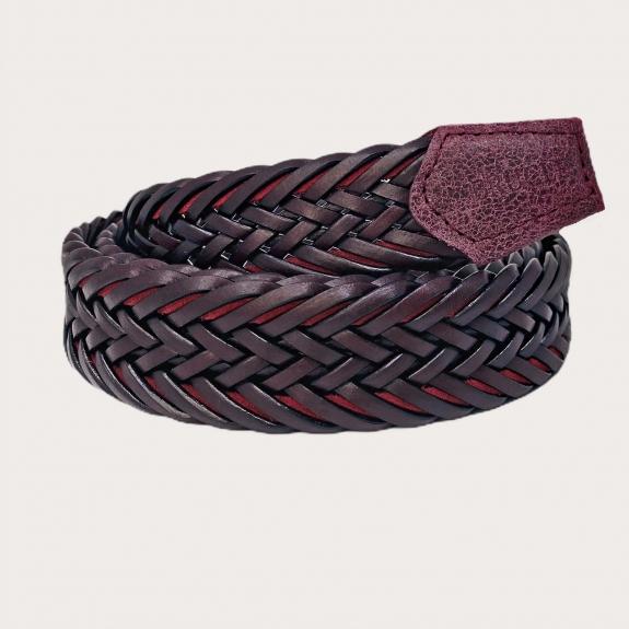 Brucle braided belt bordeaux nickel free