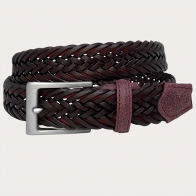 Braided genuine leather belt, bordeaux, nickel free