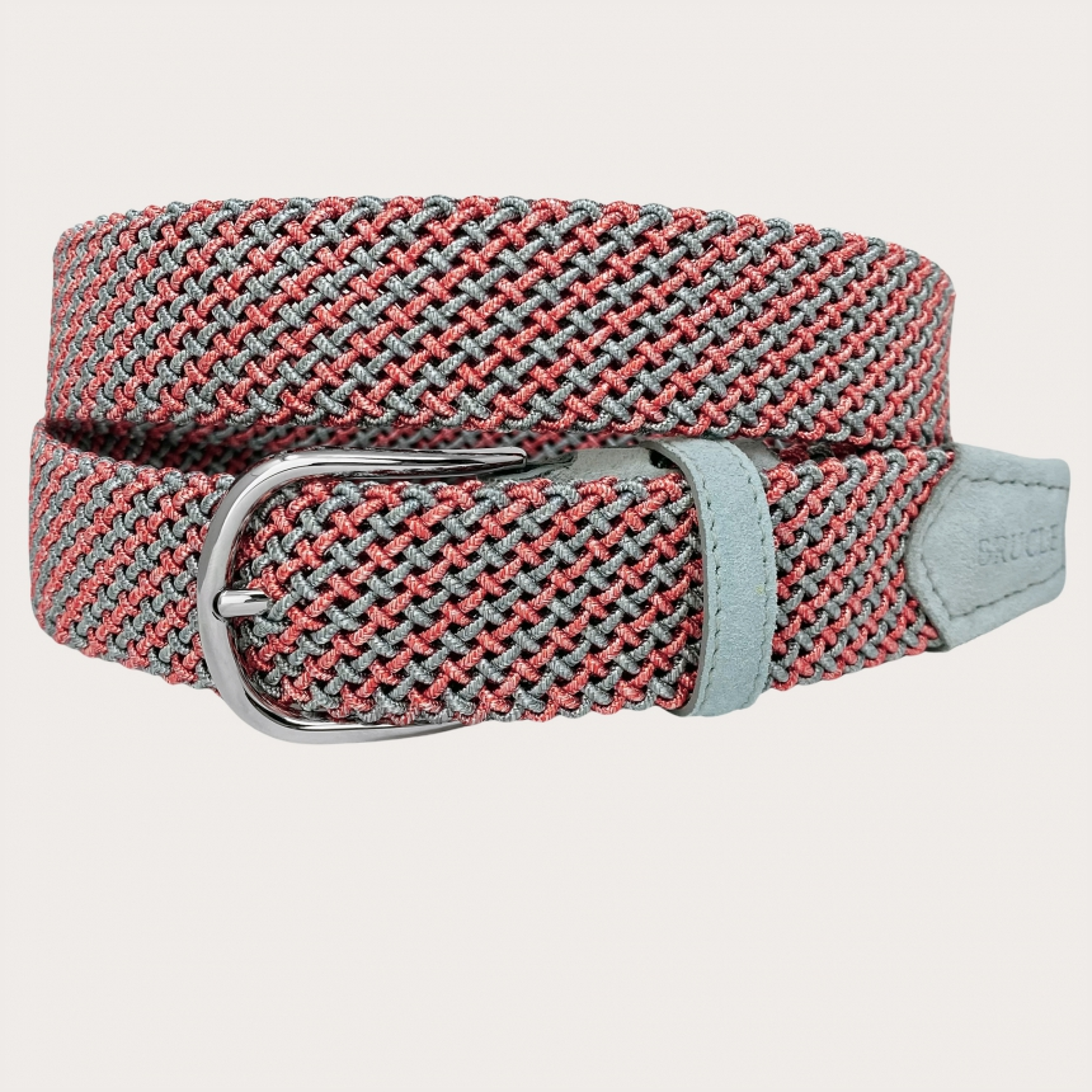 Brucle ceinture tressée élastique tubulaire rose et gris sans nichel