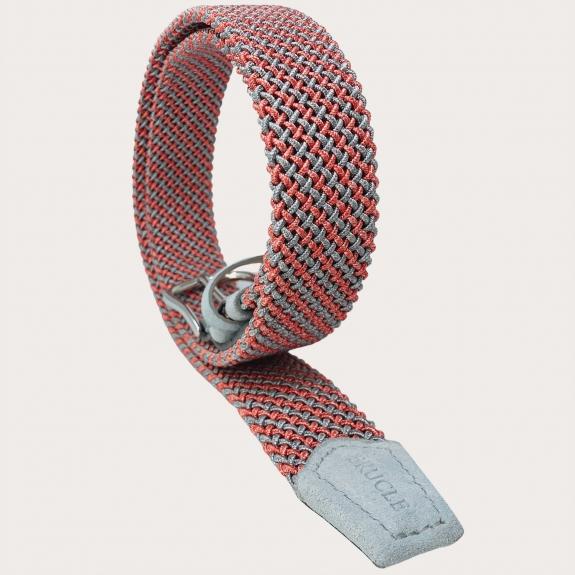 Geflochtene Elastik Gürtel röhrenförmig pink grau nickelfrei