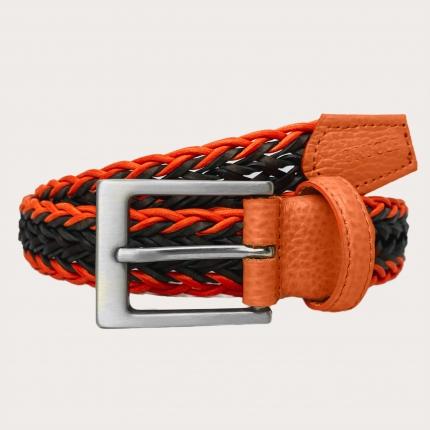 Braided cotton and leather belt, orange brown, nickel free