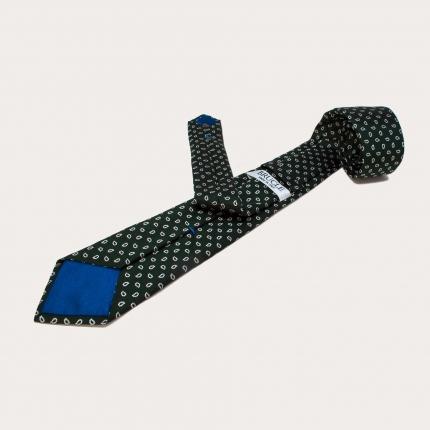Brucle cravatta verde in seta fantasia paisley