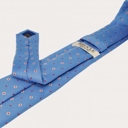 Silk tie, light blue with flowers