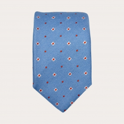 Cravatta in seta celeste con fiori