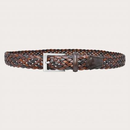 Brucle Cintura in cuoio intrecciato marrone nichel free