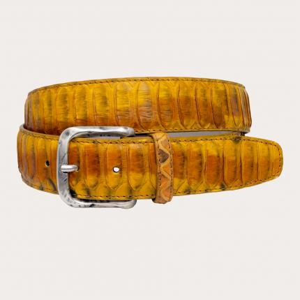 Brucle ceinture hute en cuir véritable Python, jaune