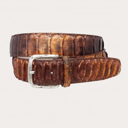 Ceinture hute en cuir véritable Python, brun