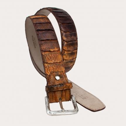 Genuine python leather belt, brown