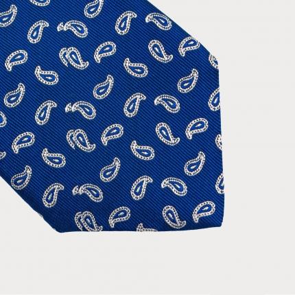 Brucle cravatta blu in seta fantasia paisley