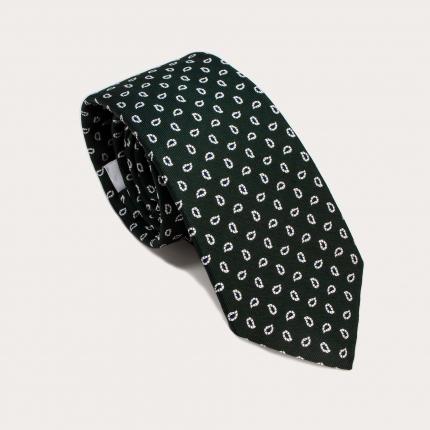Cravatta verde in seta fantasia paisley