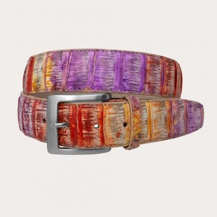 Genuine python leather belt, multicolor