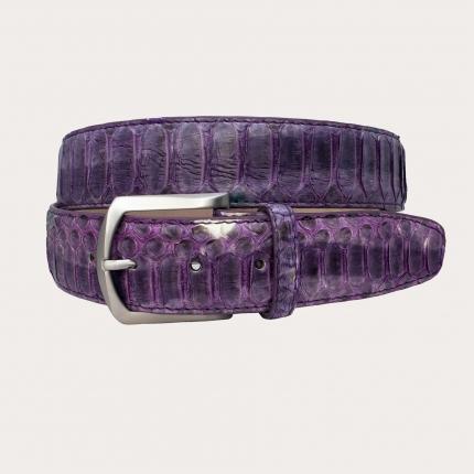 Genuine python leather belt with nickel free buckle, wisteria purple shades