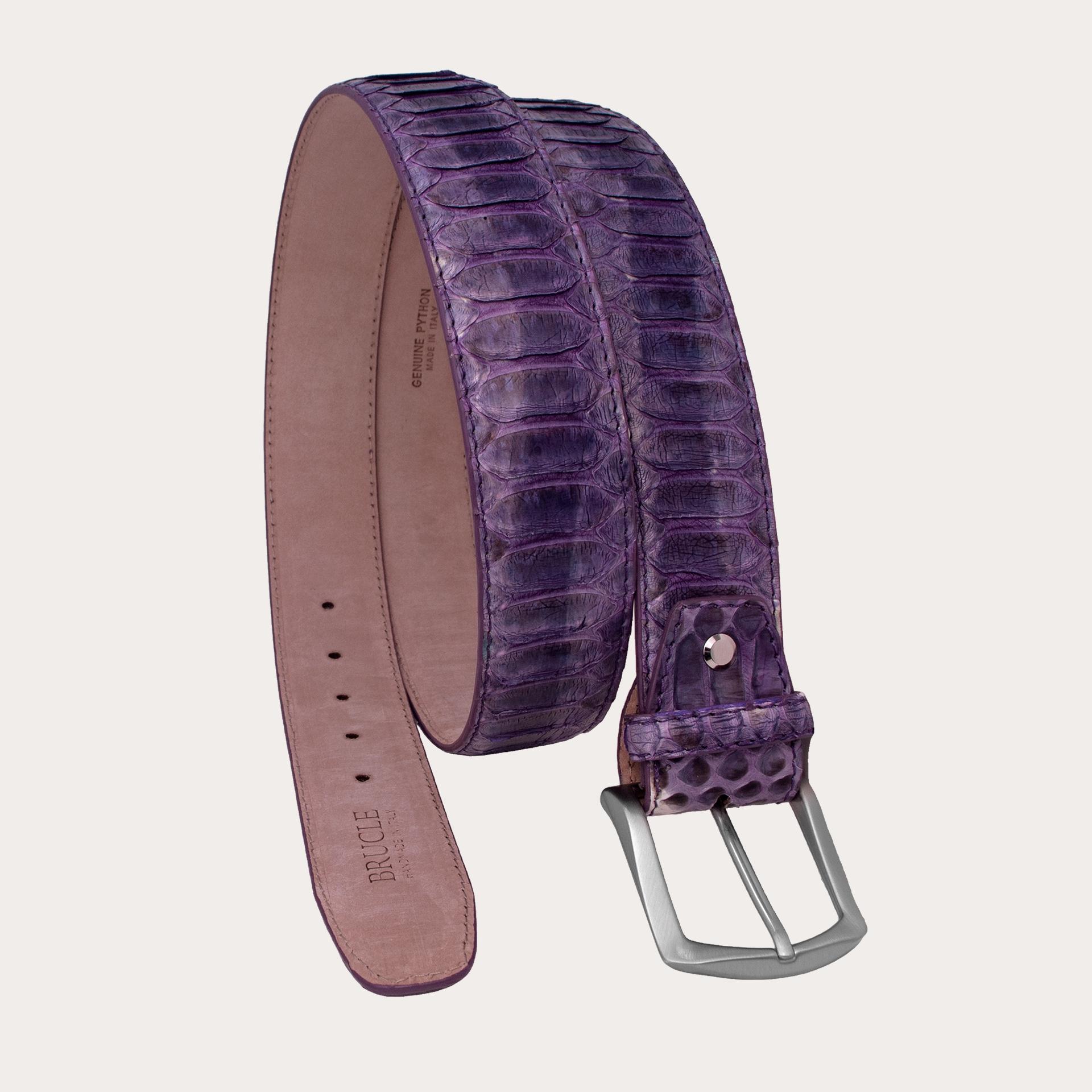 Brucle cintura alta in vero pitone, sfumature viola glicine