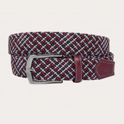 Brucle tubular elastic braid belt brown burgundy and grey