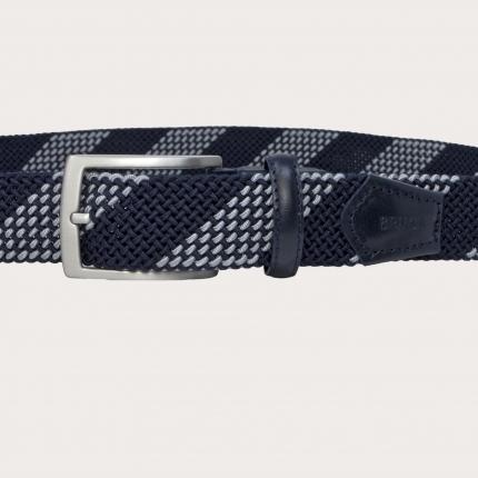Braided elastic stretch tubular belt, blue and grey nickel free