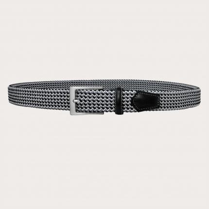 Braided nickel free elastic stretch tubular belt, black and grey
