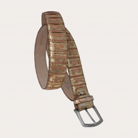 Genuine python leather nickel free belt with back cut, gold