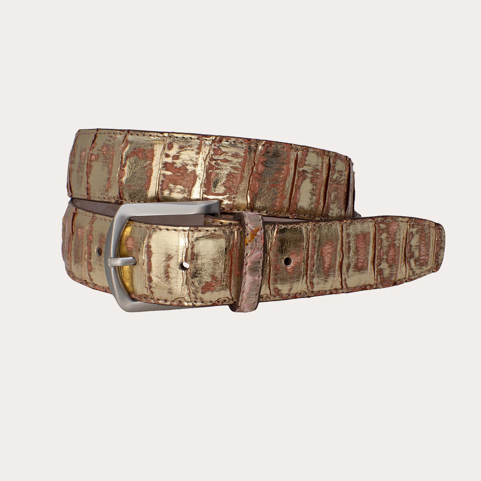Brucle python back cut belt, gold, nickel free