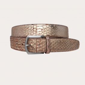 Genuine python leather nickel free belt with back and front cut, gold