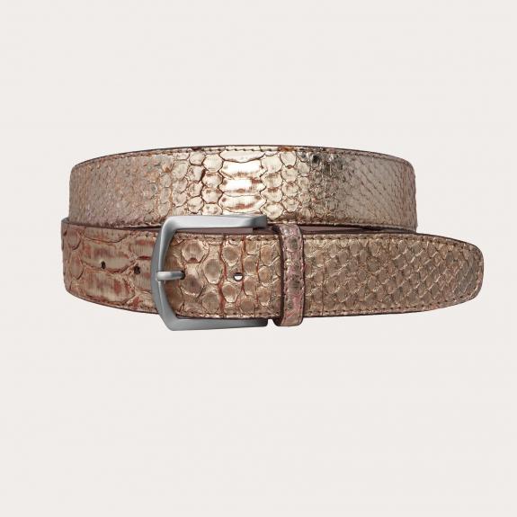 Brucle python back front cut belt, gold, nickel free