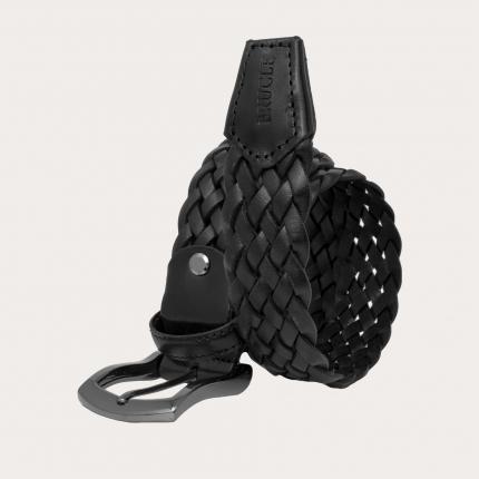 Brucle Cintura in cuoio intrecciato nero