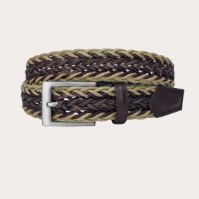 Braided cotton and leather belt, beige and brown