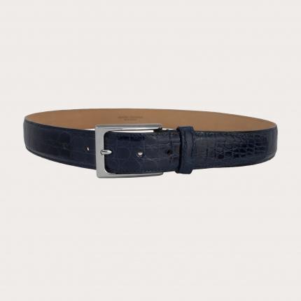 Genuine crocodile flank leather belt, dark blue