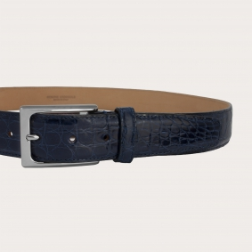 BRUCLE Men's belt made in genuine tail crocodile leather, blue