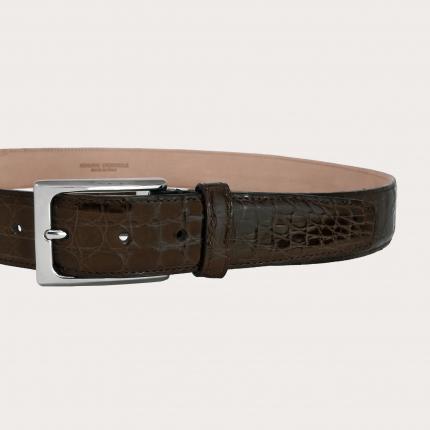 Cintura cucita coccodrillo testa moro H35