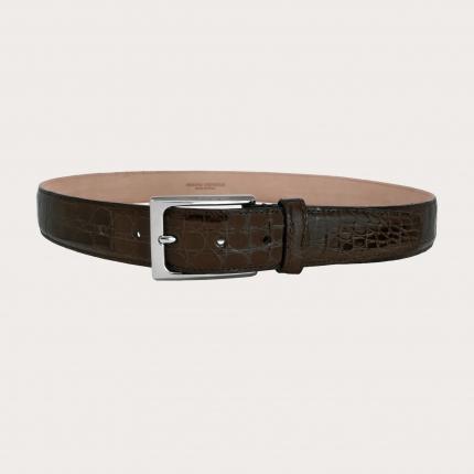 Genuine crocodile flank leather belt, dark brown