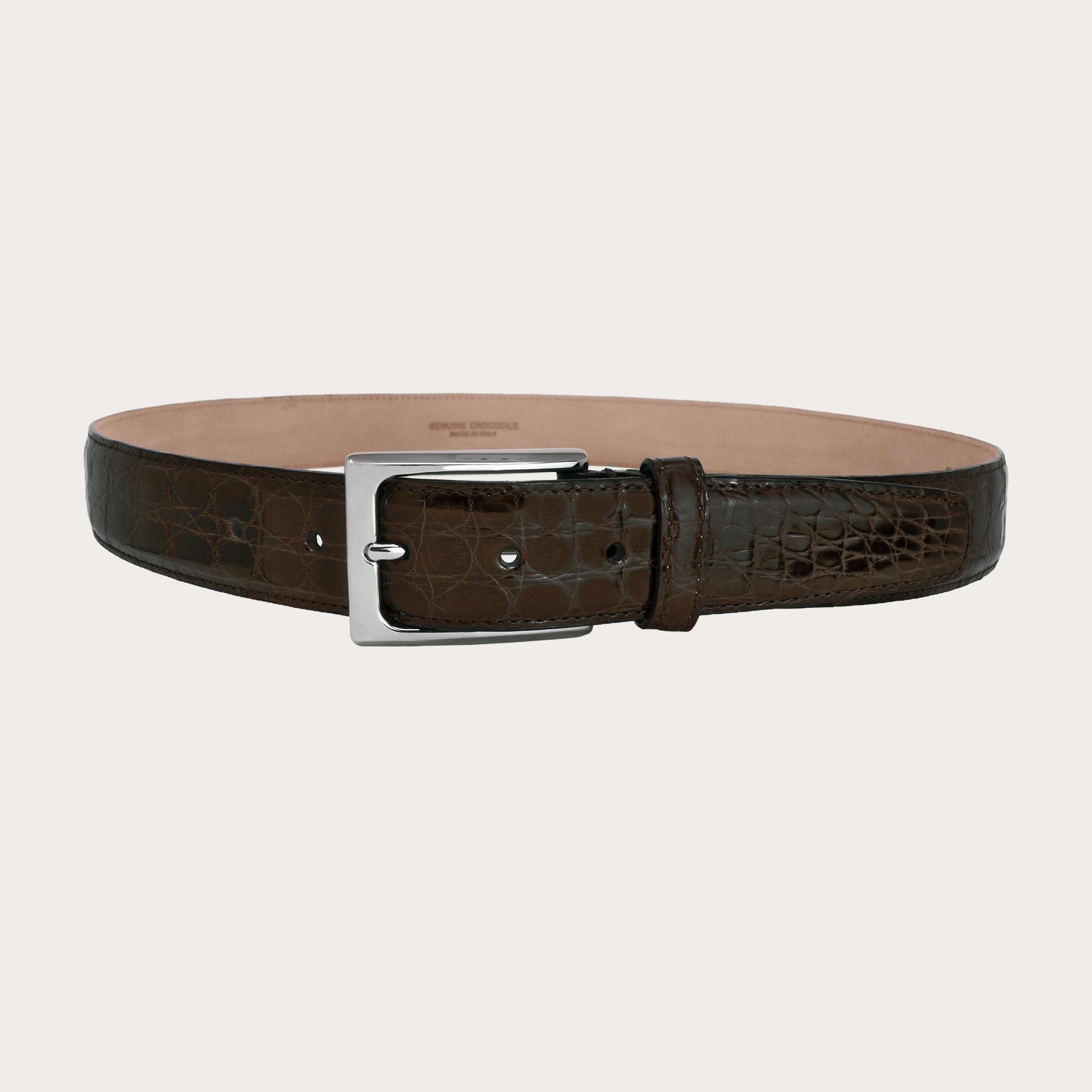 BRUCLE Elegant handcrafted dark brown crocodile belt H35