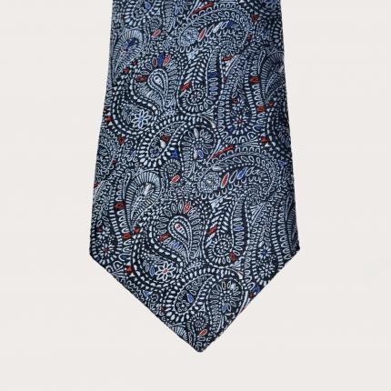 Brucle cravatta blu in seta fantasia cachemire