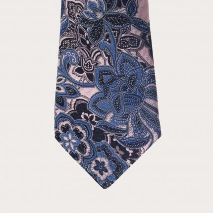 Cravatta rosa e azzurra in seta, fantasia cachemire floreale