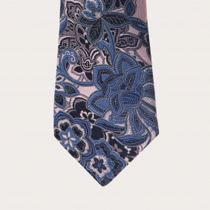 Silk necktie, pink and blue floral cachemire