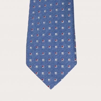 Cravatta in seta azzurra fantasia a quadratini