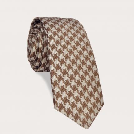 Cravatta pied de poule beige in seta