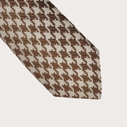 Silk necktie, beige pied de poule