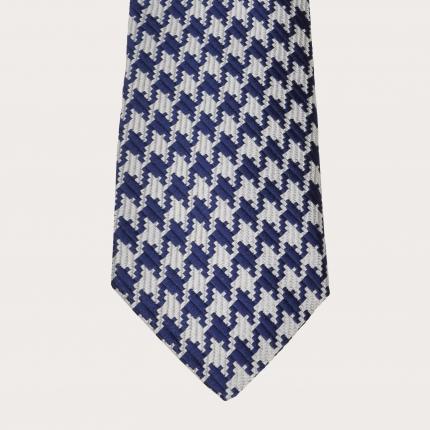 Brucle Seiden Krawatte pied de poule blau