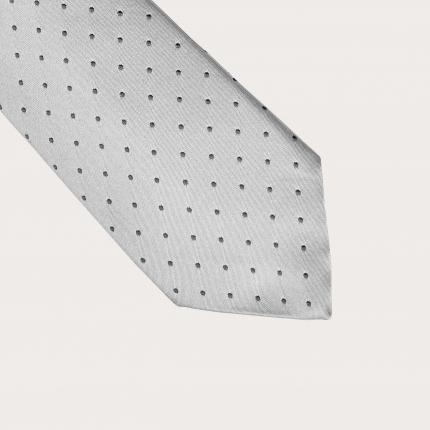 Brucle Cravatta in seta pois puntaspillo grigio